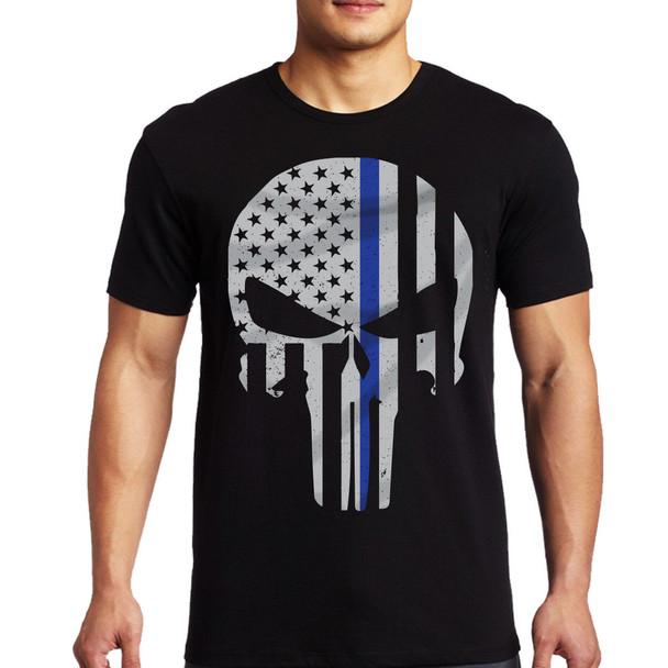 Thin Blue Line Men's Skull T-Shirt