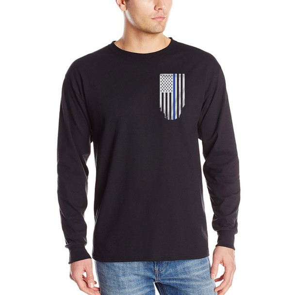 Thin Blue Line Men's Black Flag Long Sleeve T-Shirts