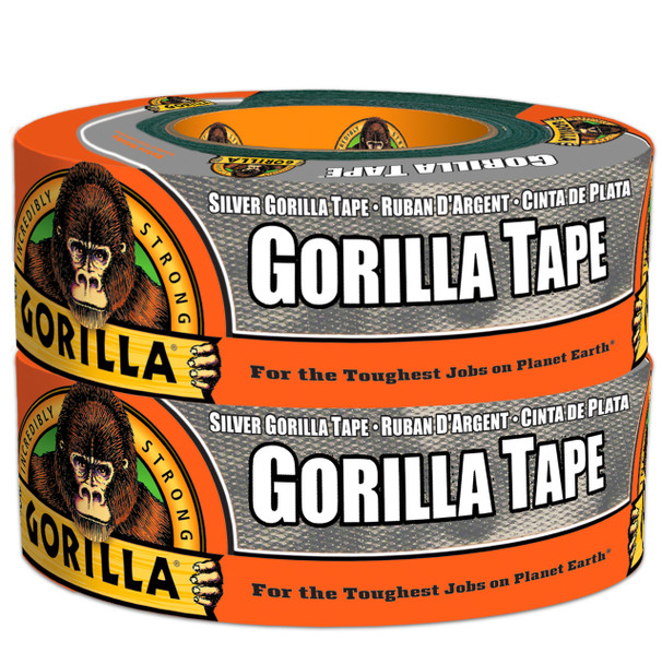 """Gorilla Duct Tape 1.88"""" x 35 Yard 2/Pack SILVER"""