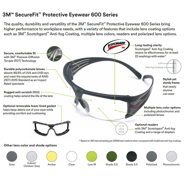 3M SecureFit 600 Tactical Series Ballistic Anti-Fog Protective Eyewear