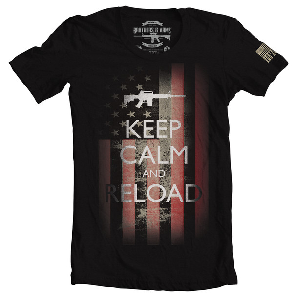 Brothers & Arms USA 100% Ring-Spun Cotton Keep Calm T-Shirt, Black