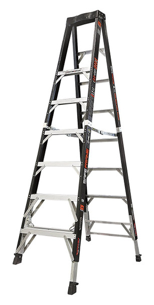 Little Giant Safe Frame 8' Fiberglass Ladder w/Ratchet Levelers