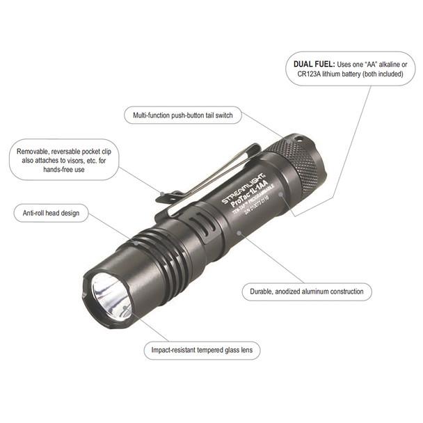 Streamlight  ProTac 1L Super Bright Dual Fuel Ten Tap Programable Tactical Flashlight 350 Lumens w/2 Batteries