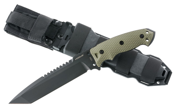 "Hogue EX-F01 A2 Tool Steel Tanto 7"" OD Green Fixed Blade Knives"
