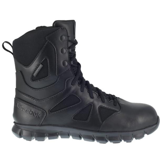 "Reebok RB8807 Men's Sublite Cushion 8"" Waterproof Tactical Side Zip  Boots"