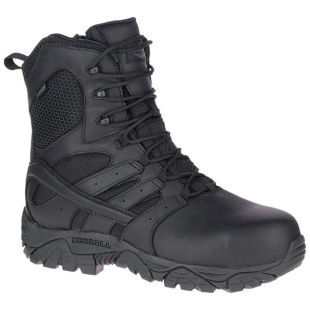 """Merrell Men's Moab 2 8"""" Tactical Response Waterproof Comp Toe Work Side Zip Boot"""