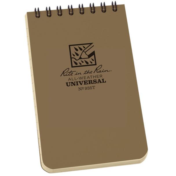 "Rite In The Rain Top Spiral 3""x5"" Pocket Notebook, Tan"