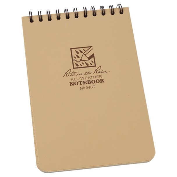 """Rite In The Rain Top Spiral 4""""x6"""" Notebook, Tan"""