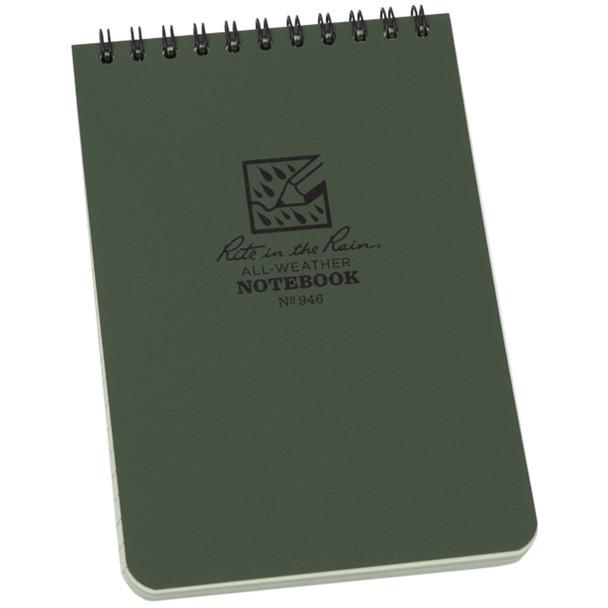 """Rite In The Rain Top Spiral 4""""x6"""" Notebook, Green"""