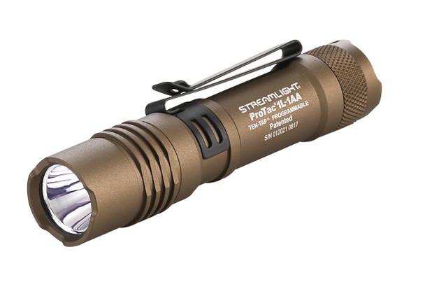 Streamlight  ProTac 1L Super Bright Dual Fuel Ten Tap Programable Tactical Flashlights w/2 Batteries Tan