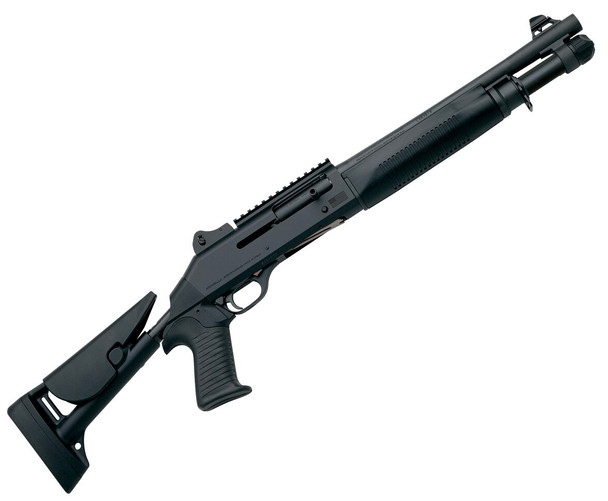 The M4 Tactical shotgun is the combat service shotgun of the U.S. Joint Services today. The M4 is a unique, Auto-Regulated Gas-Operated (A.R.G.O.) semi-auto 12-gauge. The metalwork is chrome-plated, anodized or coated with heavy phosphate to prevent corrosion under the most grueling conditions.