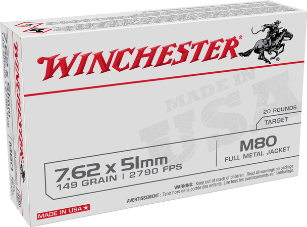 Winchester WM80W 7.62mm 149gr FMJ Ammunition 20 Pack