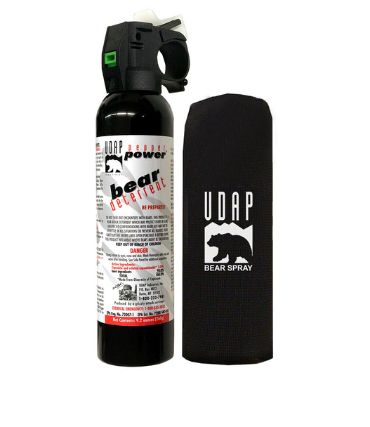 UDAP 15HP Magnum Bear Spray with Holster 260gr OC Pepper Up to 35ft Range