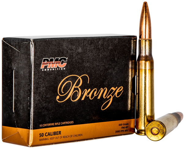 PMC Bronze 50 BMG 660GR FMJBT Ammunition 10 Rounds