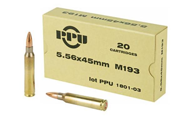 PPU Mil-Spec 5.56x45mm 55GR FMJBT Ammunition 20 Rounds