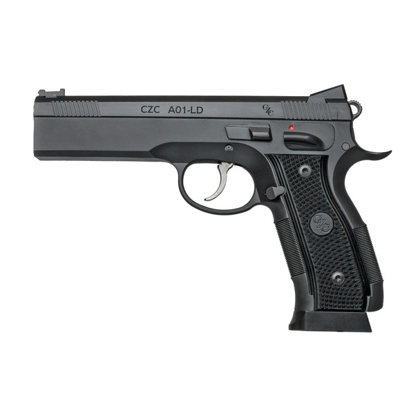 """CZ AO-1 LD Custom 9MM, 4.9"""" Stainless Barrel, Aluminum, Manual Safety, Full Size, Fiber Optic Front And Low Mount Rear Sights, 19Rd"""