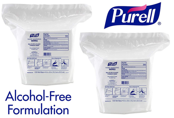 """PURELL Alcohol Free Hand Sanitizing 6""""x8"""" Wipes 1200 Count 2/Pack"""