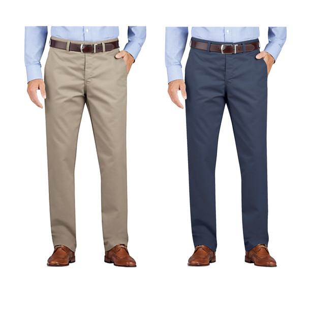 Dickies Regular Fit Tapered Leg Flat Front Khaki Pants