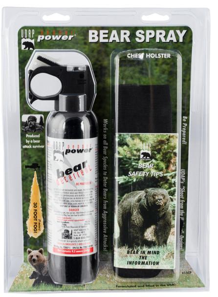 UDAP 15CP Magnum 9.2oz Bear Spray w/Chest Holster 260gr OC Pepper 35ft Range