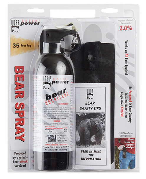 UDAP 18HP Magnum 13.4oz Bear Spray w/Hip Holster 380gr OC Pepper 35ft Range