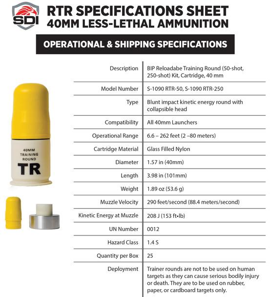 SDI 40mm BIP Training Rounds Kit 50 Pack FREE SHIPPING