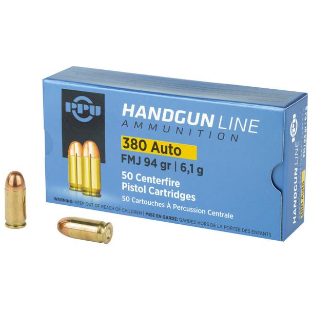 PPU Handgun .380 ACP 94gr FMJ Ammunition 50rds