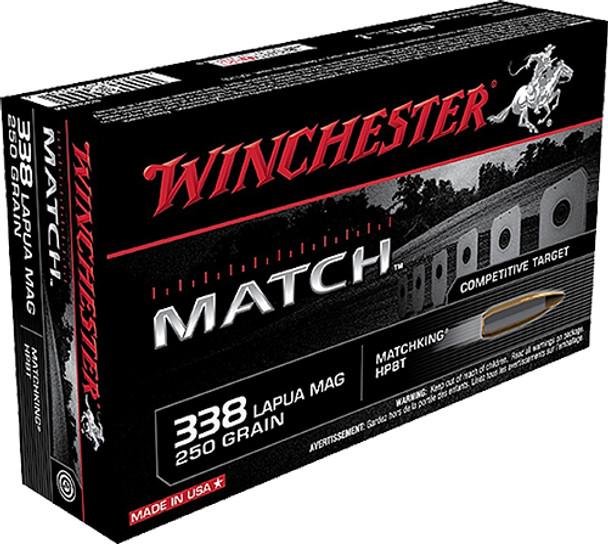 Winchester Match 338 Lapua Mag 250GR Sierra MatchKing BTHP Ammunition 20 Rounds