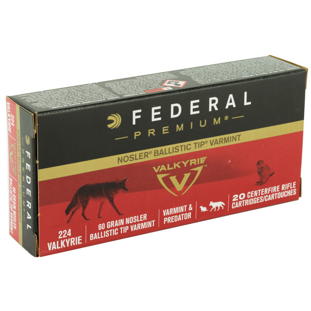 Federal Premium 224 Valkyrie 60gr Nosler Ballistic Tip Ammunition 20rds