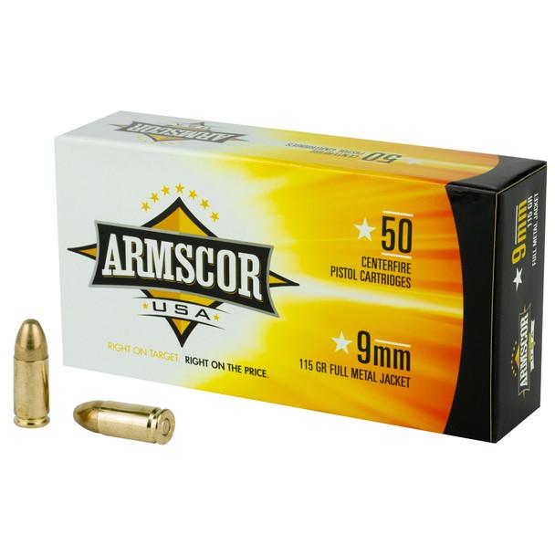 Armscor 9mm 115GR FMJ Ammunition 50 Rounds