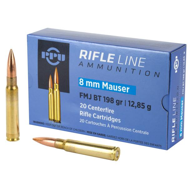 PPU 8mm Mauser 198GR FMJ Ammunition 20 Rounds