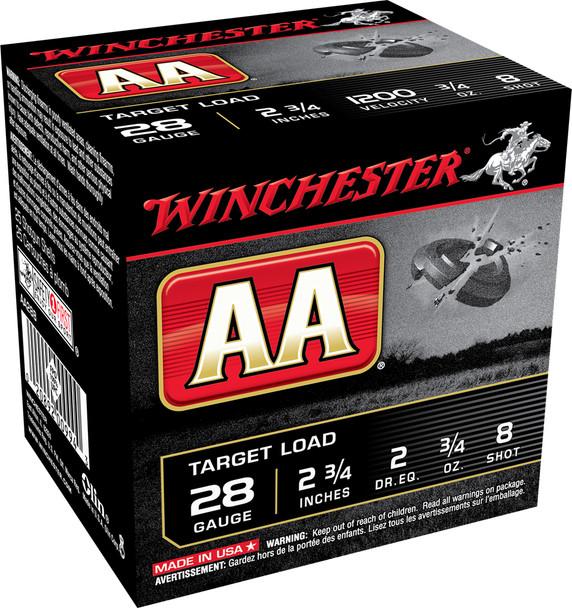 "Winchester AA Target Load 28GA 2.75"" Shotshell #8 Ammunition 25rds"
