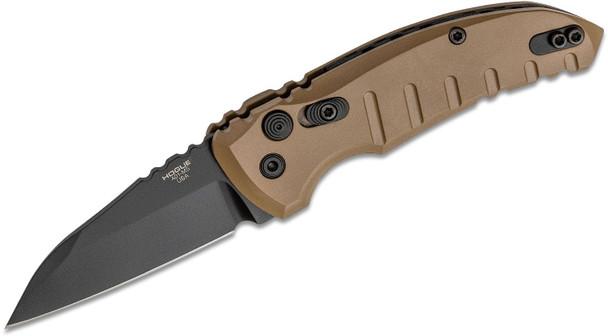 "Hogue A01-Microswitch 2.75"" Auto Folding Knife Plain Wharncliffe Blade FDE"