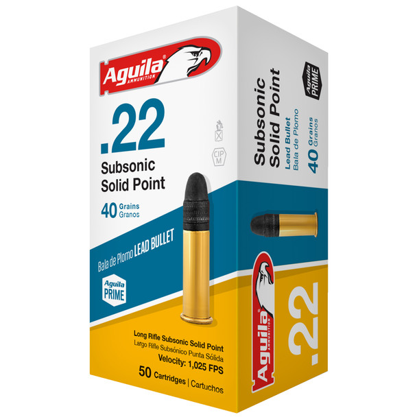 Aguila Subsonic 22LR 40gr Solid Point Ammunition 50rds