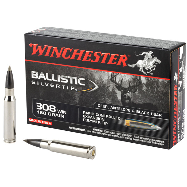 Winchester Ballistic Silvertip .308 Winchester 168gr Rapid Controlled Expansion Polymer Tip Ammunition 20rds