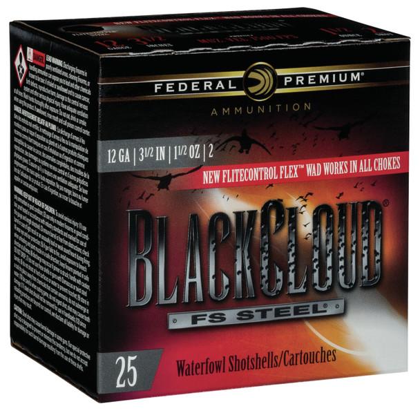 """Federal Black Cloud FS Steel 12GA 3.5"""" 1.5oz 2 Shot Ammunition 25rds"""