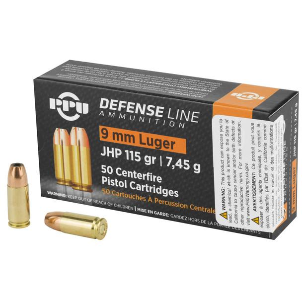 PPU Defense 9mm 115gr JHP Ammunition 50rds