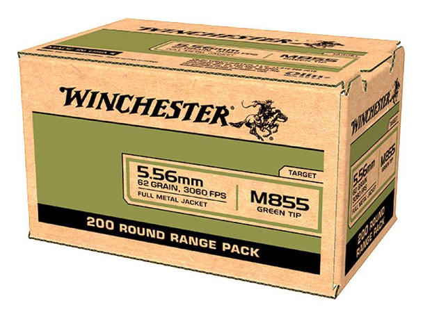 Winchester M855 5.56mm 62GR Green Tip  Ammunition 200rds