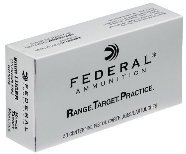 Federal Range & Target 9mm 115gr FMJ Ammunition 50rds