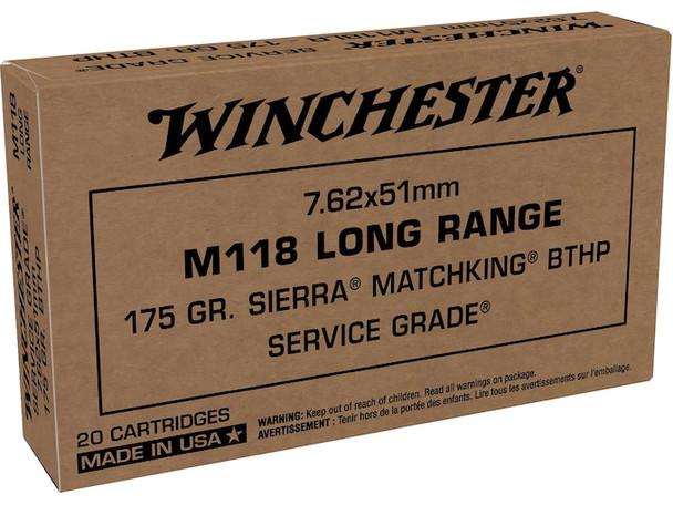 Winchester M118 Long Range 7.62mm 175GR Sierra MatchKing HPBT Ammunition 20rds