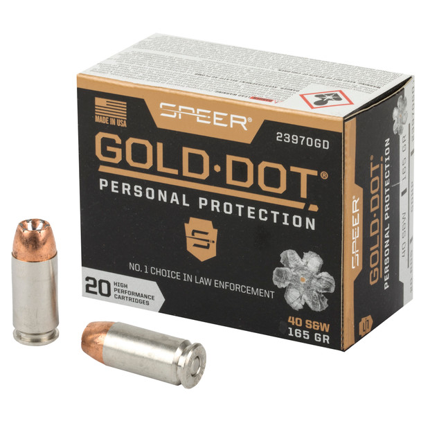 Speer Gold Dot 40 S&W 165GR Hollow Point Ammunition 20 Rounds