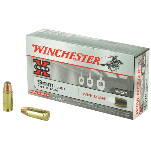 Winchester Super-X 9mm 147gr Winclean Brass Enclosed Base Ammunition 50rds
