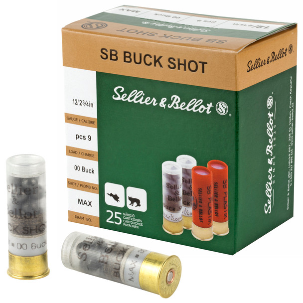 """SB 12GA 2.75"""" 9 Pellets 00 Buck Shot Ammunition 25 Rounds"""