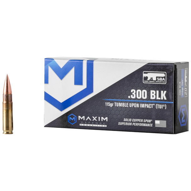Maxim Defense Tumble Upon Impact 300 BLackout 115GR Solid Copper Spun Ammunition 20rds