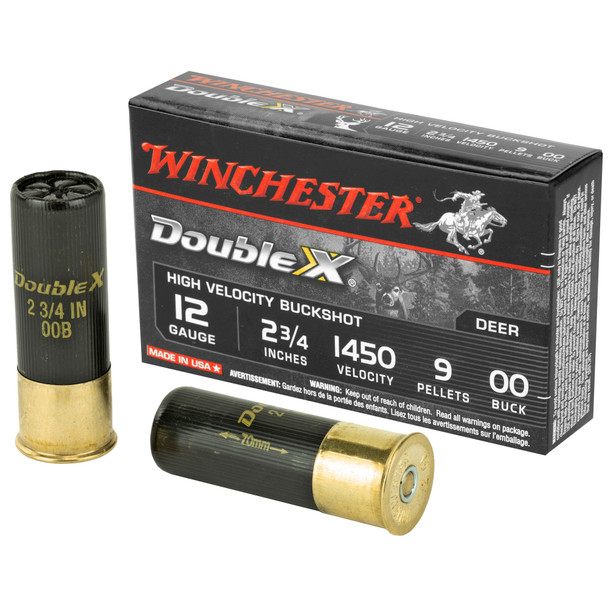 "Winchester Double X High Velocity 12GA 2.75"" 9 Pellets Copper Plated 00 Buck Shot Ammunition 5 Rounds"