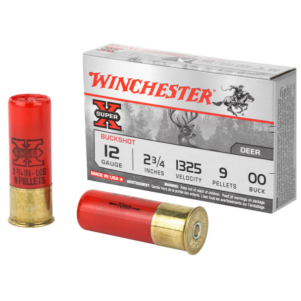 "Winchester Super-X 12GA 2.75"" 9 Pellets 00 Buck Ammunition 5 Rounds"
