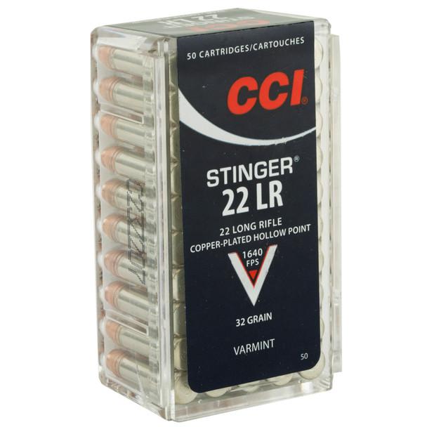 CCI Stinger 22 LR 32GR Copper-Plated Hollow Point Ammunition 50 Rounds