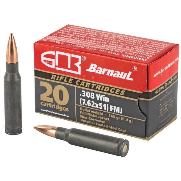 Barnaul .308 Winchester 145gr FMJ Ammunition 20rds Polymer Coated Steel Cases