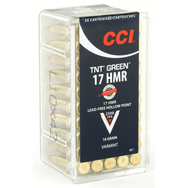 CCI TNT Green 17 HMR 16GR Lead-Free Hollow Point Ammunition 50 Rounds