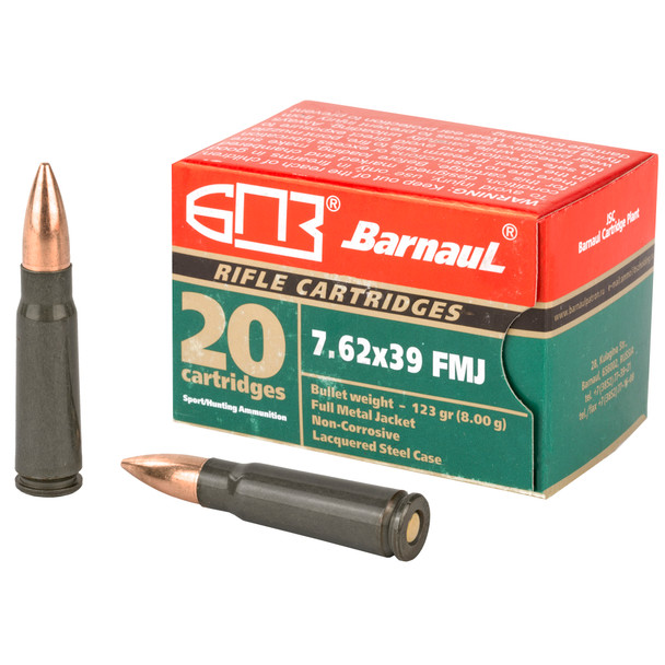 Barnaul 7.62x39mm 123gr FMJ Ammunition 20rds Lacquered Steel Cases