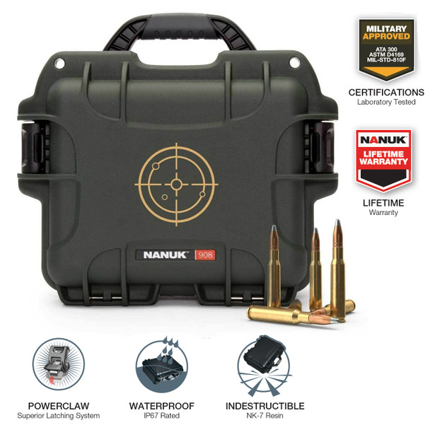 """Built to survive the harshest elements, the NANUK 908 Ammo Case is the ultimate waterproof, dustproof and rust-proof way to protect and transport your ammunition. A clear upgrade to metal and cheap plastic cases, the NANUK 908 Ammo Case is the real thing for guaranteed dry storage. Don't trust your ammo to a can that will rust or a case that is just """"splash-proof"""". Count on NANUK's two PowerClaw latches that clamp the lid shut while the high-performance rubber gasket resists deformation and fatigue to maintain a watertight seal. In fact, the NANUK 908 Waterproof Ammo Case can be submerged in 1 meter/3 feet of water for 30 minutes! Includes two reinforced metal eyelets for padlocks or combination locks to secure the case and its contents when required. NANUK's pressure relief system lets air in but prevents water from entering. The 908 is designed with feet on the bottom and interlocking channels on the lid for easy, efcient and rigid stacking when transporting or storing your ammo. NANUK cases are trusted by passionate outdoor enthusiasts, sportsmen, law enforcement, military, hunters and shooting sports enthusiasts to protect their mission-critical gear and supplies. They know that NANUK protects like no other case thanks to its lightweight, indestructible MIL-Spec NK-7 resin body. Backed by a lifetime warranty."""